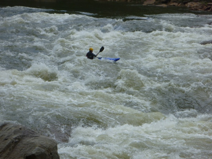 Lou paddles the Pyranha Fusion through Big Nasty on the Cheat Canyon in West Virginia